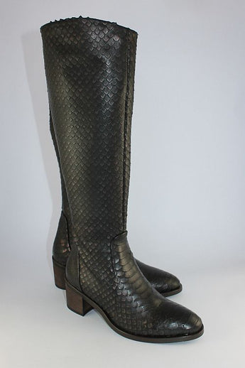Dark Brown Bronze Snakeskin Finish Boot