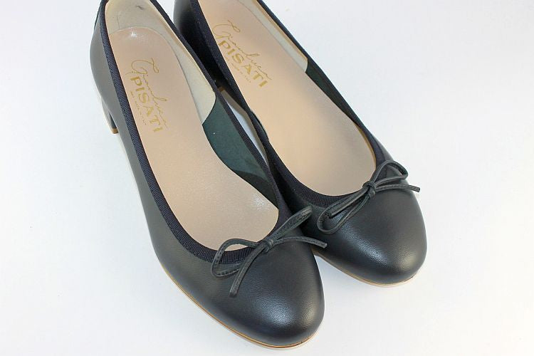 'Carol' Navy Leather Ballet Pump With Small Heel