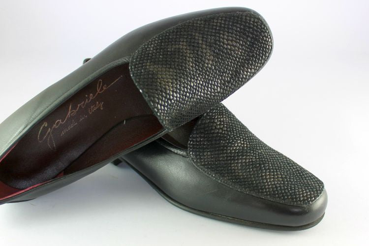 Black Leather Loafer With Skin Finish