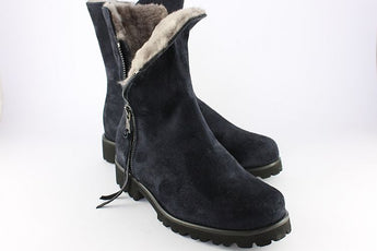 Navy Suede Sheepskin Ankle Boot