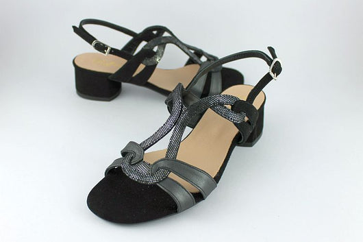 Black Suede and Metallic Leather Sandal
