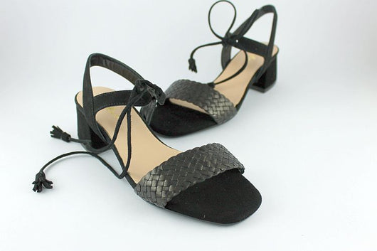 Black Suede and Woven Leather Sandal