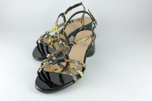 Black and Yellow Snakeskin Sandal