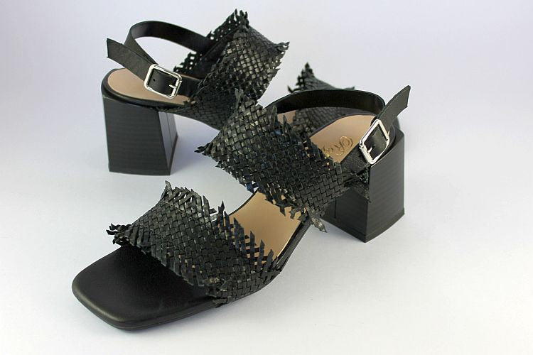 Black Woven Sandal On Block Heel
