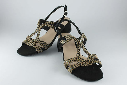 Black Suede and Leopard Print Sandal
