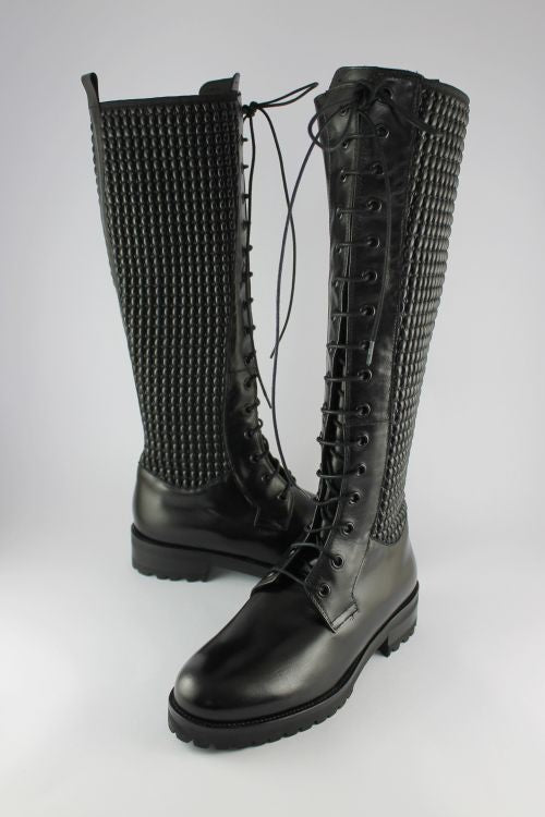 Black Long Leather Lace-up Boot
