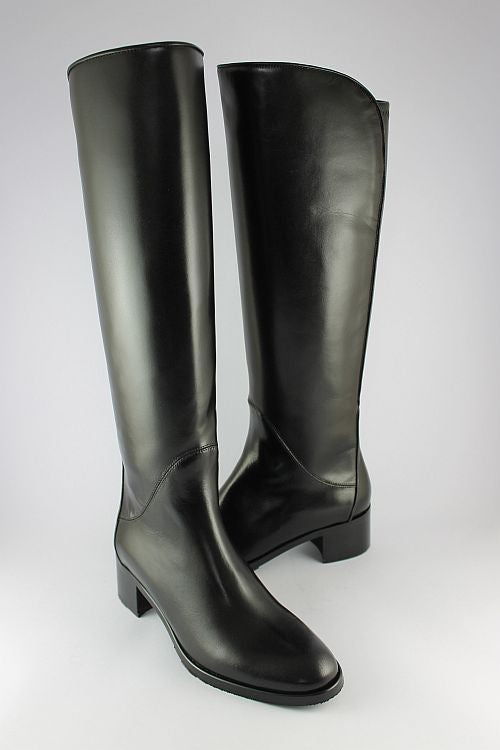Long Black Leather Boot With Stretch Back