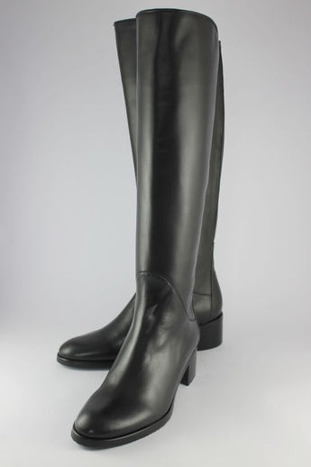 Long Navy Leather Boot