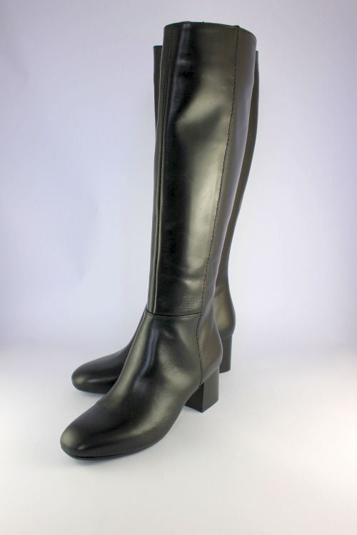Long Black Leather Boot With Mid Heel