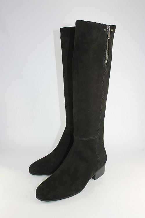 Black Suede Long Flat Boot With Zip Detail