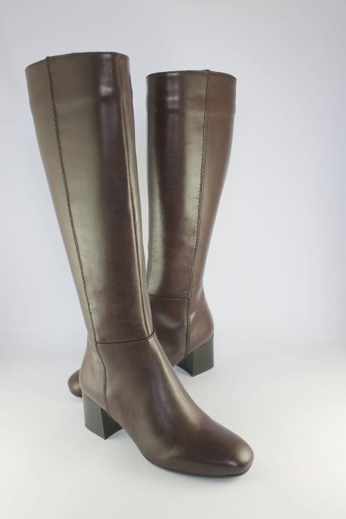 Long Dark Brown Leather Boot With Mid Heel