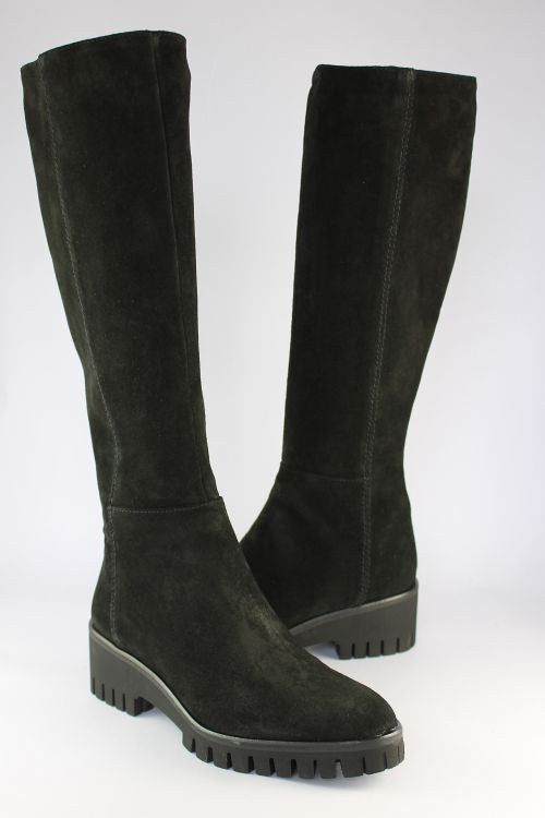Black Suede Long Wedge Boot