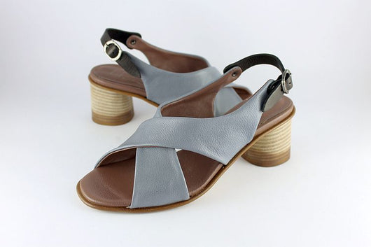 Artic Blue Leather Cross Over Sandal
