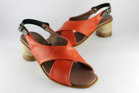 Orange Leather Cross Over Sandal
