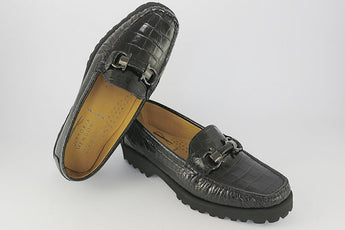Black Moc Croc Leather Loafer