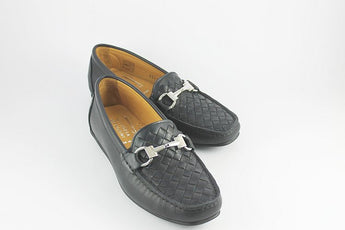 Navy Leather Loafer With Woven Upper