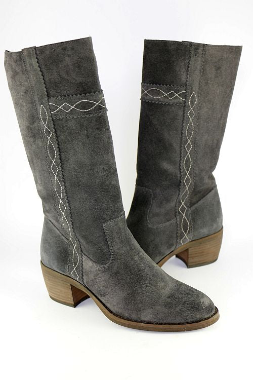 Dark Grey Long Cowboy Boot