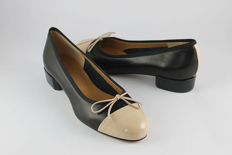 Black & Cream Ballet Pump