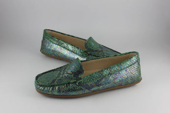 Green Snakeskin Print Leather Loafer