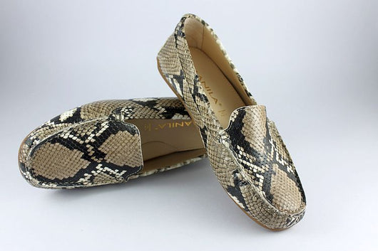 Natural Snakeskin Print Leather Loafer
