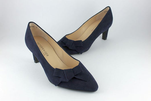 'Larissa' Navy Suede Court With Bow