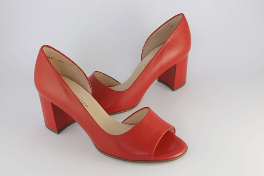 'Jasmin' Red Leather Peep Toe Court