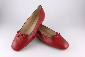 Red Leather Ballet Pump