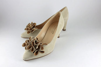 'Marel' Sand Suede With Flower