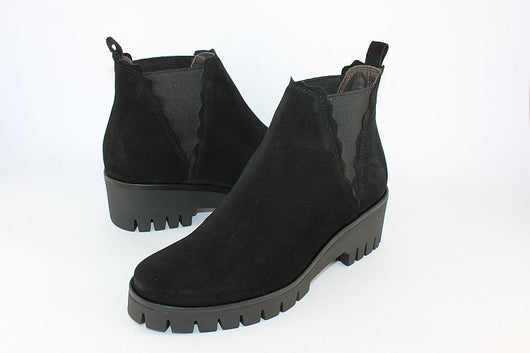 Black Suede Wedge Ankle Boot