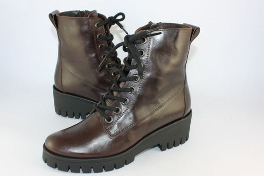 Dark Brown Leather Lace Up Ankle Boot