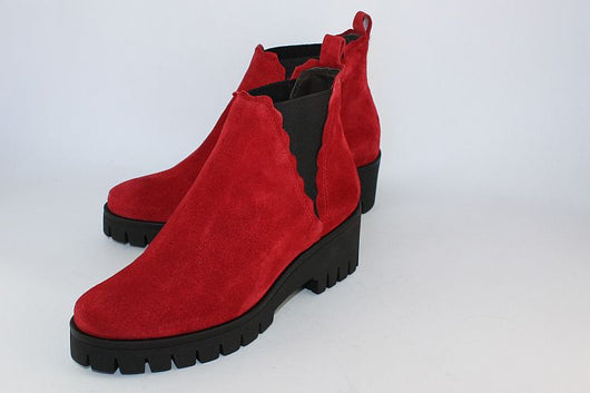 'Kiss' Red Suede Wedge Ankle Boot