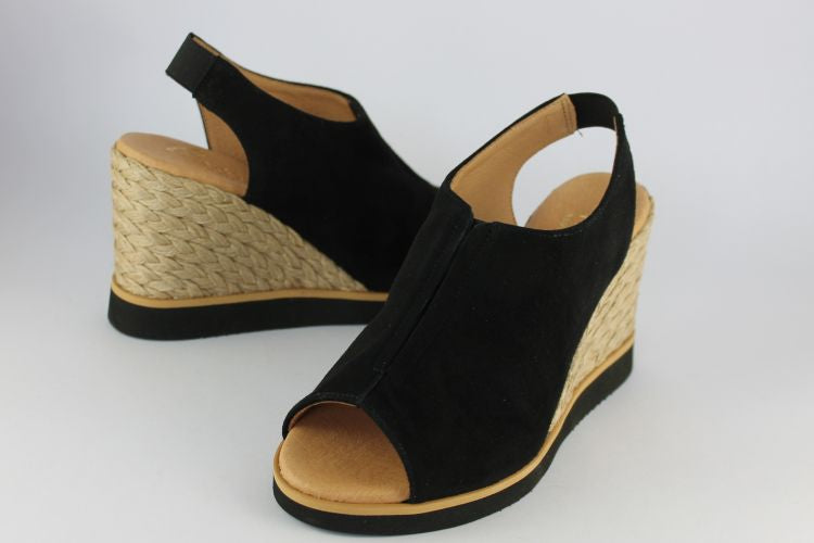 Black Suede Wedge Sandal