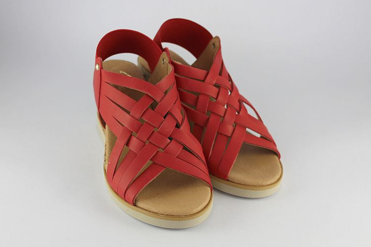 Red Wedge Sandal