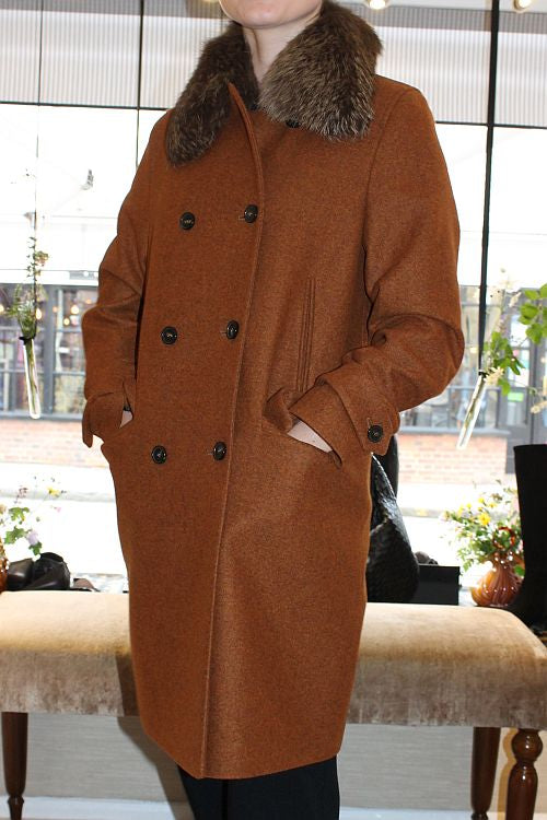 'Amalia' Wool Coat in Cinnamon