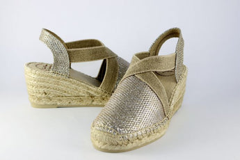 Soft Gold Metallic Wedge Espadrille With Natural Trim