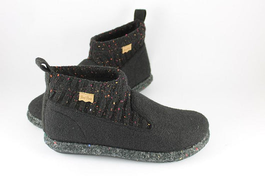 Black Wool Bootie / Slipper