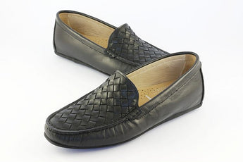 Black Leather Woven Loafer