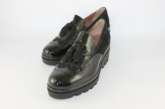 Black Patent And Suede Brogue