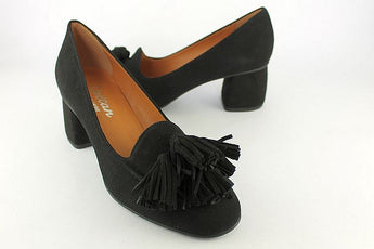 Black Suede Court With Four Tassels