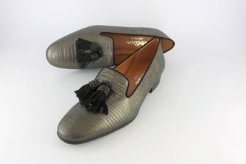 Metallic Textured Leather Loafer With Black Suede Tassels