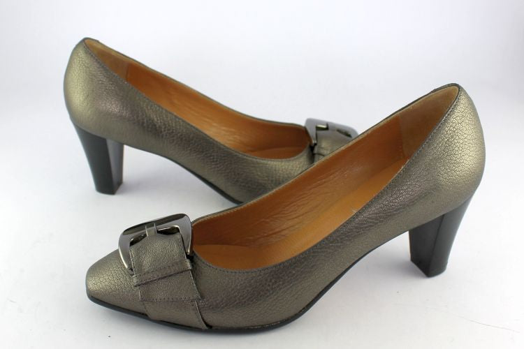 Pewter Leather Courts With Buckle