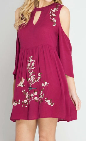 MAROON COLD SHOULDER DRESS - Georgie St. Boutique
