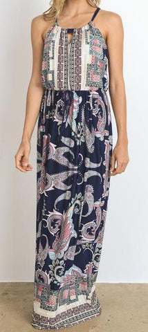NAVY PAISLEY HALTER MAXI DRESS - Georgie St. Boutique