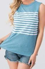 STRIPED BLUE MUSCLE TANK TOP - Georgie St. Boutique