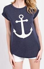 NAVY ANCHOR TOP - Georgie St. Boutique