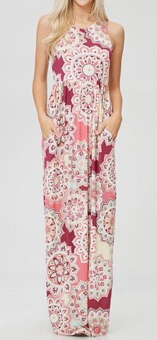 PINK PAISLEY MAXI DRESS - Georgie St. Boutique