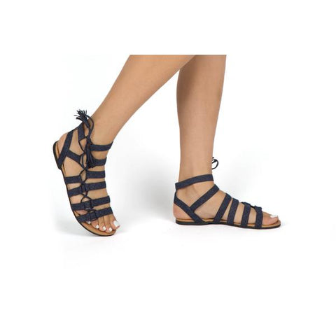 BLUE DENIM SUEDE SANDAL - Georgie St. Boutique