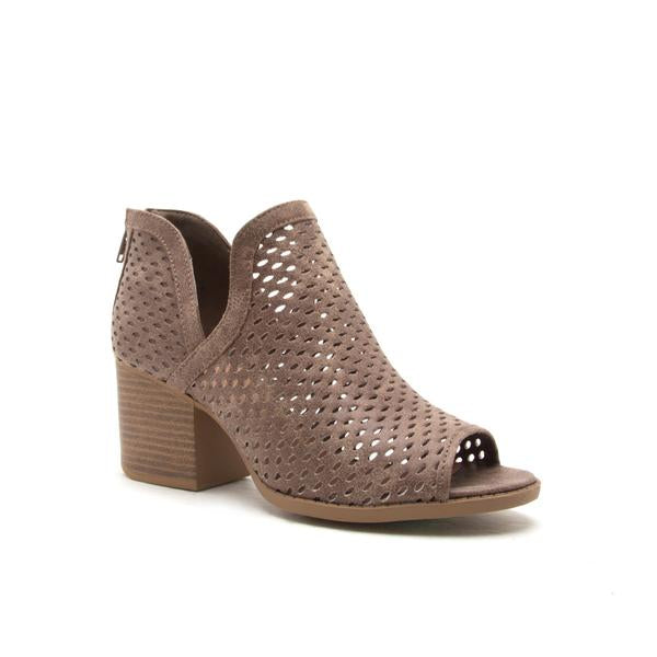 DARK TAUPE DISTRESSED BOOTIES - Georgie St. Boutique