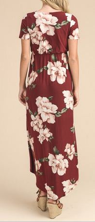 BURGUNDY FLORAL HI-LOW DRESS - Georgie St. Boutique