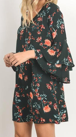 GREEN FLORAL BELL SLEEVE DRESS - Georgie St. Boutique